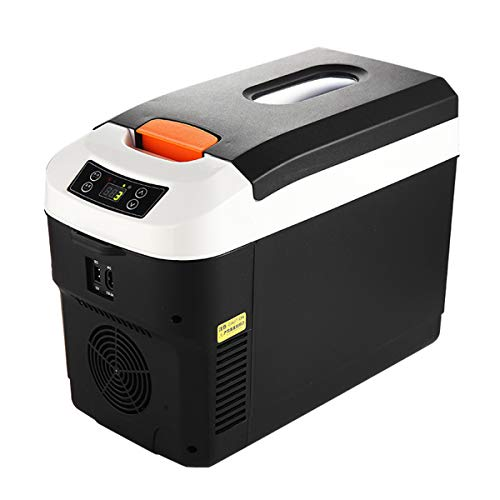 MENUDOWN Auto Kühlschrank Mini 12L Tragbare Kühlbox 12V 24V 230V Mobile Kleiner Kühlschrank Kühlboxen Leise,Wärme und Kühlendes,Für Autos,Reise,Camping,Picknicks, 12L (digital Display) Black
