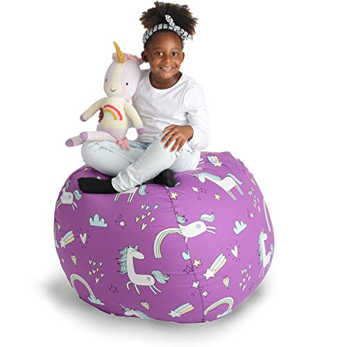 """Creative QT Stuffed Animal Storage Bean Bag Chair - Extra Large Stuff 'n Sit Organization for Kids Toy Storage - Available in a Variety of Sizes and Colors (38"""", Unicorn)"""