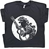 XL - Dinosaur Guitar T Shirt Funny T Shirt Playing Acoustic Elecrtic Cool Tee Player Vintage 80s Band Rock Bass Graphic Black