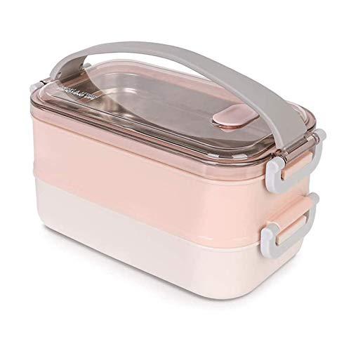 Fiambrera - Práctica Caja Bento con contenedor de Acero Inoxidable, Fiambrera de Doble Capa para la Escuela, el Trabajo, el Picnic, los Viajes (Rosa nórdico)