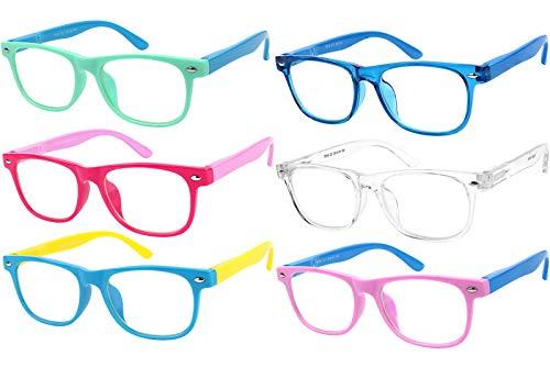 Gafas de luz azul para niños con protección UV antifatiga ocular, para videojuegos, televisión, teléfono para niños y niñas, paquete de 6 – 12 años