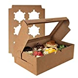Cupcake Boxes 6 Count, OAMCEG 24 Pcs Kraft Paper Christmas Cookie Boxes for Packaging, Brown Bakery/Treat Boxes with Window, Food Grade Cupcake Carrier/Holders/Containers for Pie, Muffins and Pastries