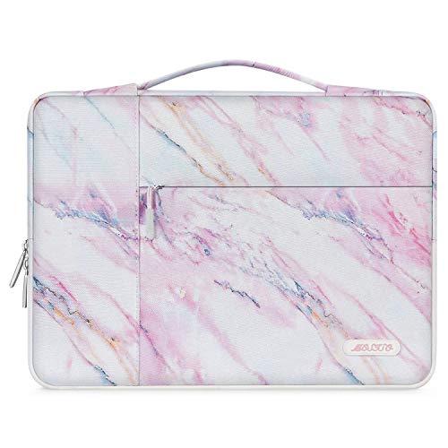 MOSISO Maletín Compatible con 13-13.3 Pulgadas MacBook Air/MacBook Pro Retina/2019 Surface Laptop 3/Surface Book 2, Poliéster Funda Blanda Protectora Multifuncional Bolso, Mármol Rosa