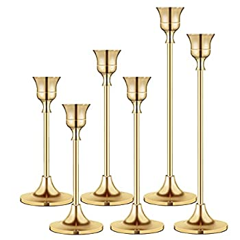 Candlestick Holders Taper Candle Holders Brass Gold Candlestick Holder Set3 Pcs Candle Stick Holders kit Decorative Candlestick Stand for Wedding Party Dinning  Brass Gold  2pcs/Set