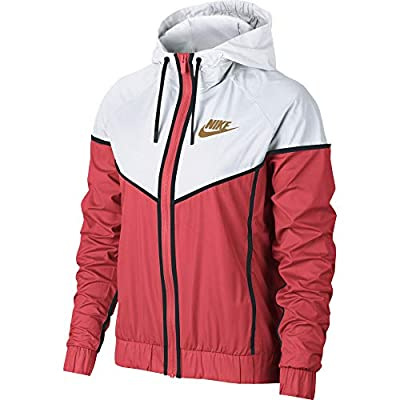 Nike Women's Woven Windrunner Windbreaker, Orange/White/Wheat