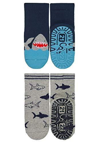 Sterntaler Jungen Fliesen Flitzer AIR Söckchen, Hai-Motive, Doppelpack, Alter: 2-3 Jahre, Größe: 23/24, Blau (Marine)