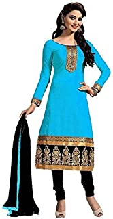 SATTVI EXPORTS Women's Embroidered Georgette Semi-Stitched Gown with Dupatta