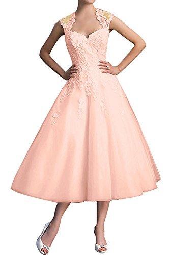 La_mia Braut Elegant perlen Rosa Chiffon Kurz Spitze Abendkleider Ballkleider Partykleider A-Linie Abschlussballkleider Wadenlang -44 perlen Rosa
