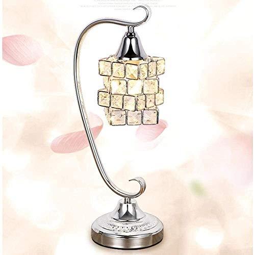 Duurzame Europese en modieuze Crystal LED bureaulamp, LED-nachtlampje, met volledige K9 Crystal Magic Cube Design lampenkap & metalen beugel voor slaapkamer, woonkamer, decoratie, geschenk, warm licht