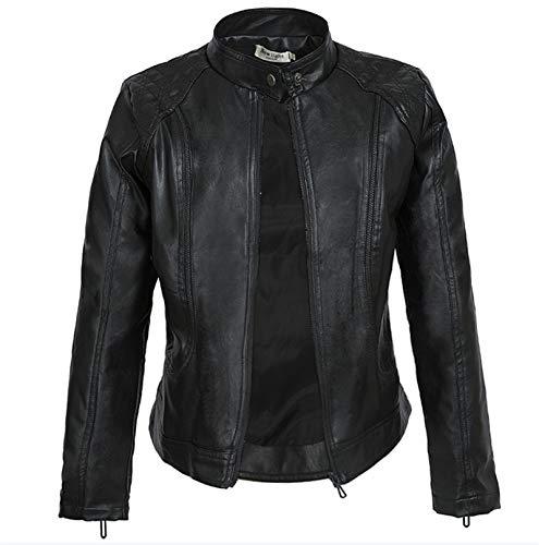 Chaqueta de piel sintética con cremallera para mujer, cuello alto, con detalles de costura, color negro, XXXL