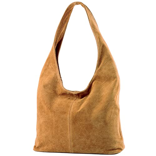 modamoda de - T150 - ital Schultertasche aus Leder Wildleder, Farbe:Camel