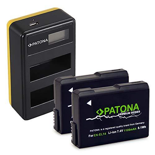 PATONA Caricatore doppio LCD USB con 2x EN-EL14 Premium Batteria compatibile con Nikon Coolpix P7100, P7700, P7800, D5600, D3400, Df
