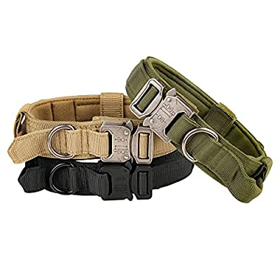 Tactical Dog Collar - KCUCOP Military Dog Collar with Mama Says I m Special Patch Thick with Handle K9 Collar Tactipup Dog Collars Adjustable Heavy Duty Metal Buckle for M,L,XL Dogs(Black,M)
