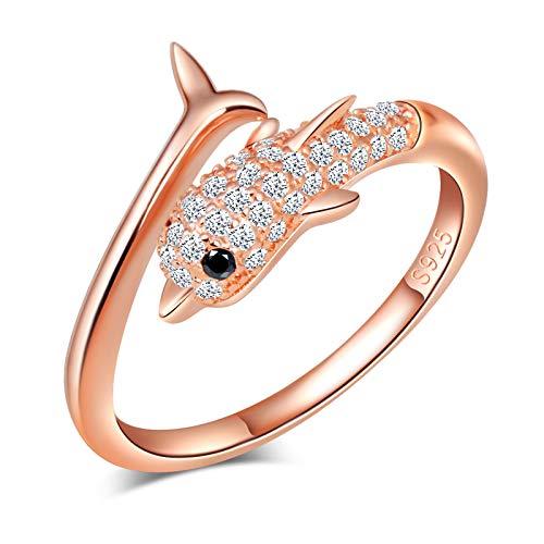 Yumilok Damenring Delfin Zirkonia Ring Zirkonia Ehering Verlobungsring Freundschaftsring Lifestyle-Ring 925 Sterling Silber verstellbar Rosegold