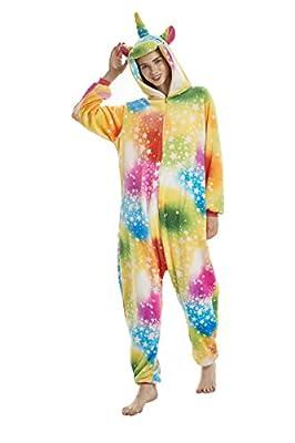Yuson Girl Pijamas de Unicornio Pijamas de UnaPieza Adulto Pijamas Unisexo Adulto Traje Disfraz Adulto Animal Pyjamas (L:168cm-177cm, Unicornio Estrella)
