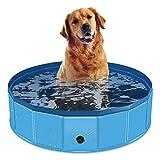 Hundepool Faltbarer Hunde-Schwimm-Pool Kunststoff-Kinder-Pool -Pool-Badewanne tragbare PVC auslaufsichere Bade-Hundewanne Pool für kleine Hunde Welpen Haustiere Katzen Enten (80 X 30cm, blau)
