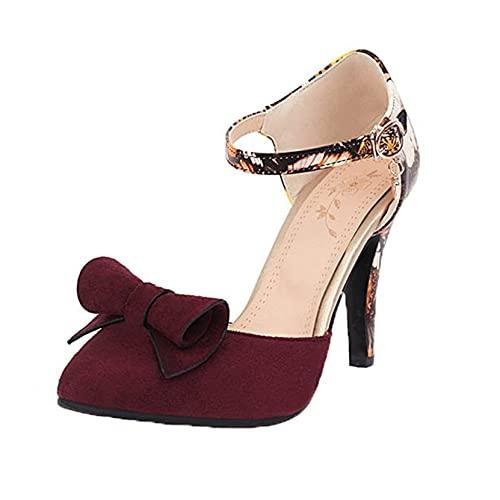 Sandalias de Verano para Mujer Transpirables Informales Puntiagudos de Gamuza con Lazo Zapatos de tacón Alto Sandalias de Fiesta de Boda para Mujer