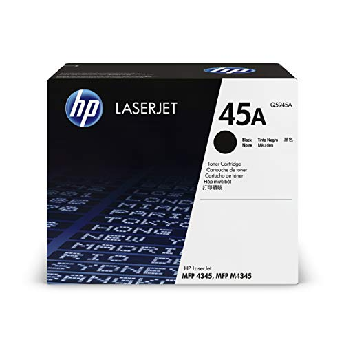 HP 45A Q5945A, Negro, Cartucho Tóner Original, de 18.000 páginas, para impresoras HP LaserJet 4345x, 4345xm, 4345xs, M4345, M4345x, M4345xm, M4345xs y 4345