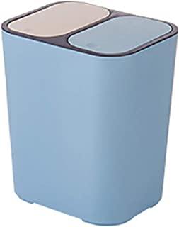 Lbobbo Recycle Bin, Double Barrel Plastic Trash Can,2-1 Double Recycling Bin with Lid,Bathroom Kitchen Trash Can Garbage Wastebaske Classified Dry and Wet Two Class Rubbish Bin 18Lblue