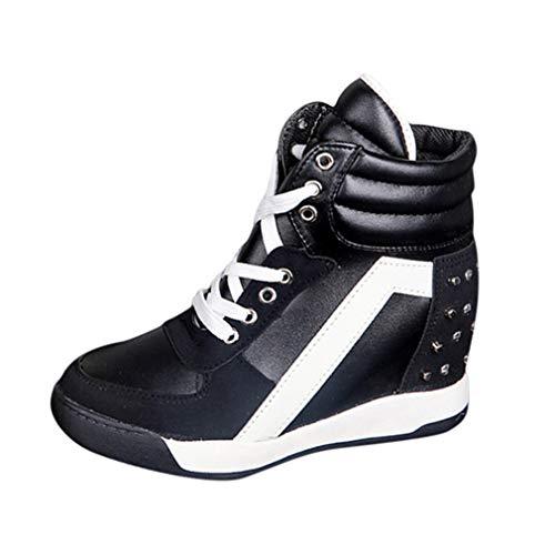 Mxssi Schuhe mit Versteckte Keil Damen Mädchen Atmungsaktives und Mode Keilabsatz Turnschuhe Schnürschuhe Sneaker für Sport Freizeit Weiß/Schwarz/Rosa