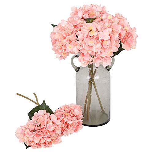 Kisflower 6Pcs Hortensia de Seda Flores Artificiales Hortensia Realista Ramo de Flores para la Fiesta de Bodas Oficina Decoración para el hogar (Rosa)