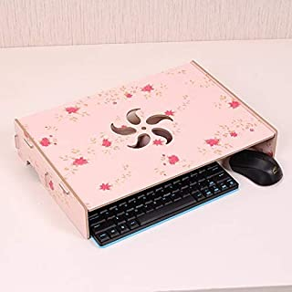 High Quality Wood Stand with Keyboard Wiring Slot for Computer Monitor/Laptop (Black) (Color : Flower)