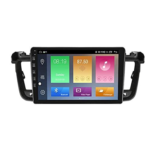KLL Android10.0 Car Radio Navegación GPS para Peugeot 508 2010-2016 2.5D IPS Pantalla táctil FM Radio Pantalla Dividida Enlace Espejo Controles del Volante+Cámara Trasera