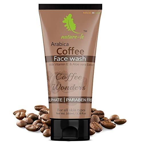 Nature-le Arabica Coffee Face Wash – 100 ml   Vitamin E, Aloe Vera, Tea Tree & Jojoba oil   Deep Cleanser   All skin types   Paraben & SLS Free