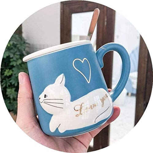 Ceramic Coffee Mug, Ceramic Water Cup Coffee Milk Mug Home Office Collection Cups Women Girls Gift Cute cat Morning Tea Breakfast Porcelain Valentines Day for Girl Wife Mug Gift for Friend Dad Mom