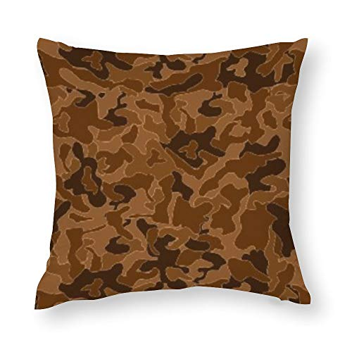 Brown Camouflage Camo Your Cotton Throw Pillow Covers Case Cushion Pillowcase with Hidden Zipper Closure for Sofa Bench Bed Home Decor 16'x16'