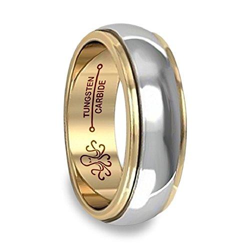 Anillo de boda de carburo de tugsteno para hombre, chapado en oro de 18 quilates, 6 mm u 8 mm