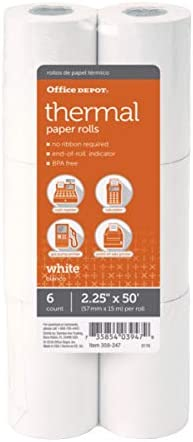 Office Depot Thermal Paper Rolls 2 1 4 x 50 White Pack of 6 product image