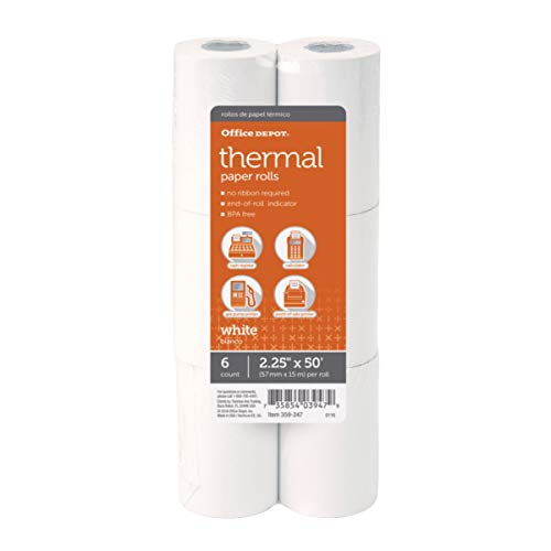 """Office Depot Thermal Paper Rolls, 2 1/4"""" x 50', White, Pack of 6"""