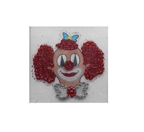 narrenkiste Ma223762 - Tatuaje de cabeza de payaso, color plateado y rojo