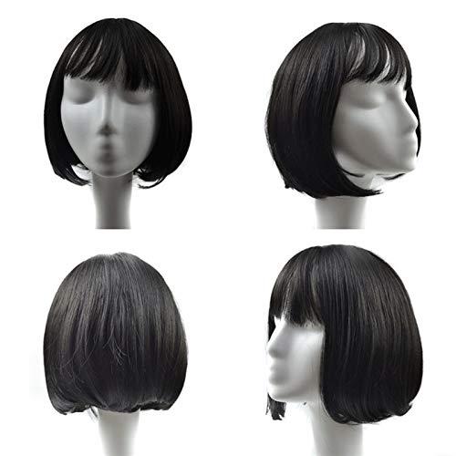 JYV Peluca, Damas de Moda Corto Pelo Recto Bob 7 Colores para Elegir Entre Cosplay Peluca de Fiesta Femenina (Color : Black)