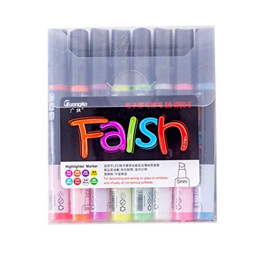 Tensay 8 Farben Radierbarer Textmarker aus Glas Elektronischer Bildschirm Sonderfarbe Stift Farbe Licht Brett Stift Whiteboard Stift