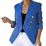YWLINK Blazer Mujer,Chaqueta De Oficina De Manga Larga Delgada De Cuello SóLido Chaqueta De Rebeca Chaqueta Casual Elegante Fiesta Ropa De Mujer De Gran TamañO(Azul,XXL)