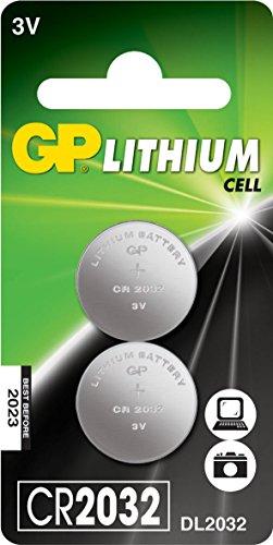 GP CR2032 C2 Lithium pile de pièces de monnaie (3V), 2-pack (blister de 2 parties)