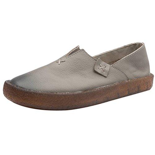 Vogstyle Damen Retro Leder Atmungsaktiv Flach Weich Schuhe Grau EU 41/42=Asian 42