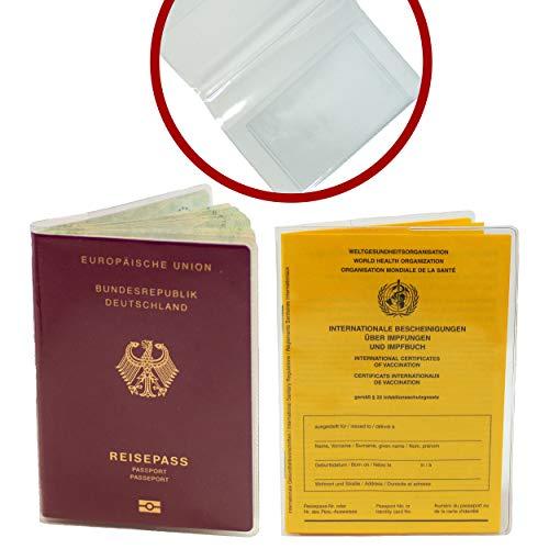 MASCHOTA® 2er Set Neue Impfpasshülle (ab 2008) 93 x 130 mm & Alte Reisepasshülle (Alter Reisepass bis Februar 2017) transparent inkl. extra Kartenfach für Kreditkarte Führerschein Versicherungskarte