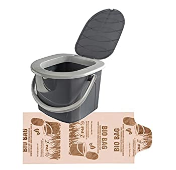 BranQ - Home essential 5901098049504 BranQ Mobile Camping 15,5 l, avec 1 Sac de Toilette Bio Gratuit en polypropylène sans BPA, avec Une capacité de Charge maximale de 120 kg, Anthracite