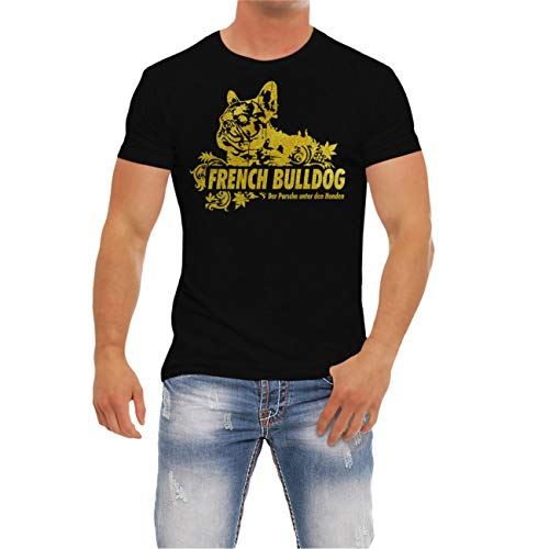 Männer und Herren T-Shirt French Bulldog Gold (mit Rückendruck)