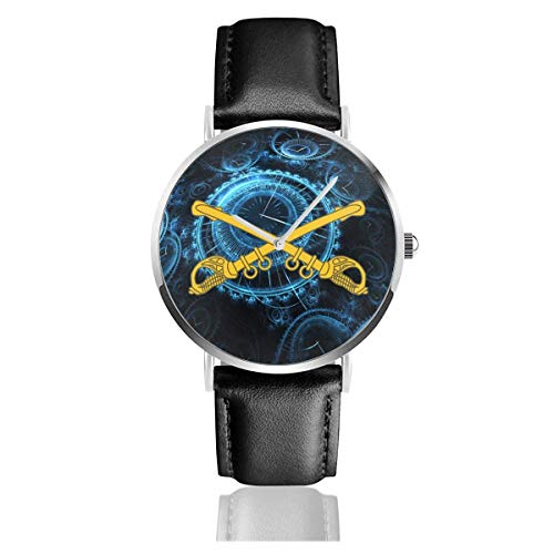 Reloj de Pulsera de Cuero con Insignia de la Rama de caballería de EE. UU. Pulsera de Cuarzo de Acero Inoxidable Informal Correa de Cuero Negro y Esfera Delgada