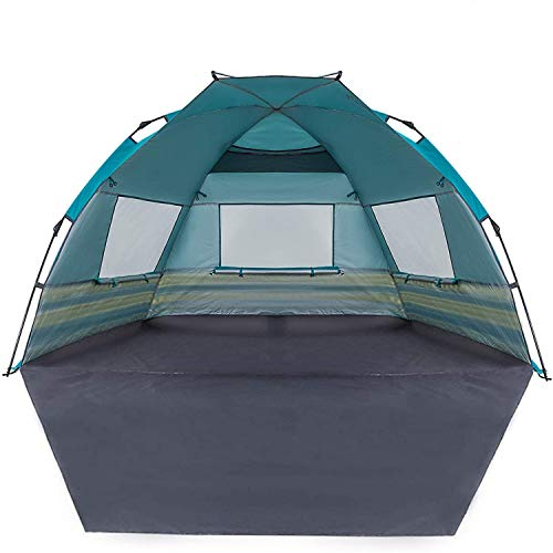 KingCamp Instant Beach Tent Extra Large Sun Shelter with Extention Floor Privacy Door Semi-Closed Structure UPF 50+ UV Protection Easy Setup Portable Shade for Family