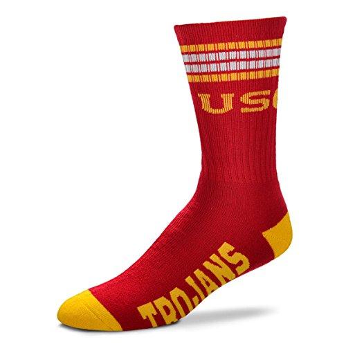 For Bare Feet Herren NCAA 4 Stripe Deuce Crew Socken, Herren, USC-Trojaner, 10-13