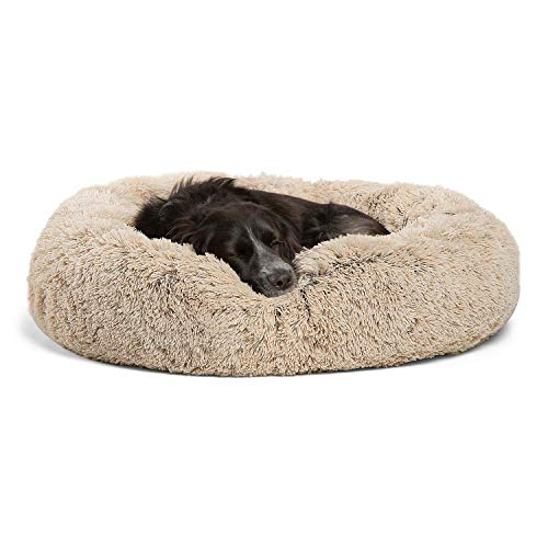 """Best Friends by Sheri The Original Calming Donut Cat and Dog Bed in Shag Fur, Machine Washable, Removable Zippered Shell, for Pets up to 45 lbs - Medium 30""""x30"""" in Taupe"""