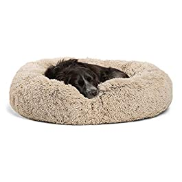 Best Friends by Sheri Calming Shag Vegan Fur Donut Cuddler (30×30″ Medium – Taupe) Removable Zippered Shell, Cat and Dog Bed, Self Warming and Cozy for Improved Sleep for Pets Up to 45 lbs.