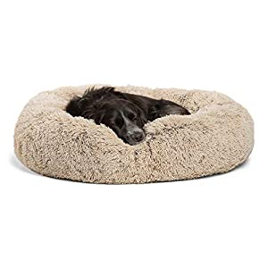 Best Friends by Sheri The Original Calming Donut Cat and Dog Bed in Shag Fur, Machine Washable, Removable Zippered Shell, for Pets up to 45 lbs – Medium 30″x30″ in Taupe