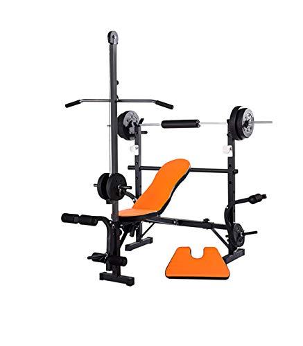 Riscko Wonduu Banco De Musculación Multifunción Naranja con Barra Alta De Ejercicios Barra dorsales: 2,5 cm.