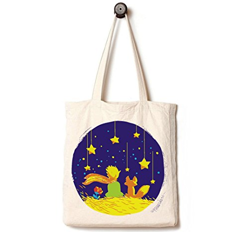 [Upgraded] Andes Heavy Duty Gusseted Canvas Tote Bag, Handmade from 12-ounce 100% Cotton, Perfect for Shopping, Laptop, School Books, Little Prince